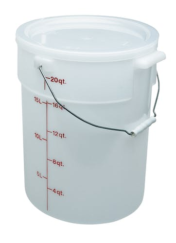 PWB22148 White Poly Pail w/ Bail Sideview