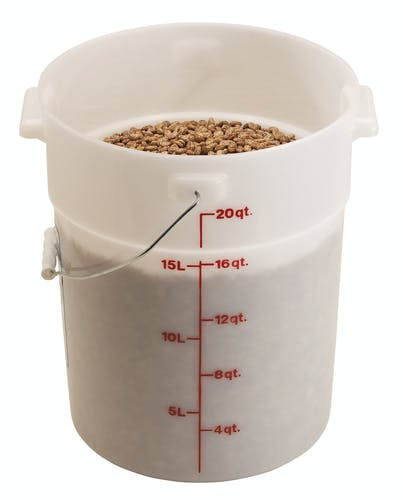 PWB22148 White Poly Pail w/ Bail & Food