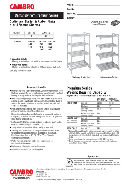 CUT - Metric CPPM1 Stationary Starter & Add-on Units 4 or 5 Vented Shelves