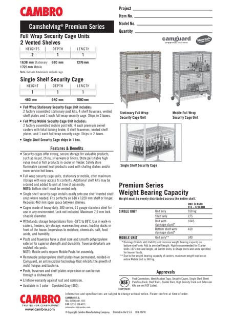 CUT - Metric CPPM12 Full & Single Wrap Security Cage Units