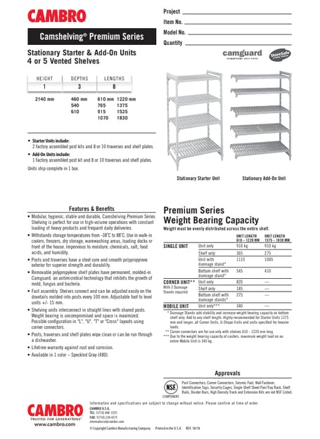 Cut Sheet - Stationary Starter & Add-On Units 4 or 5 Vented Shelves