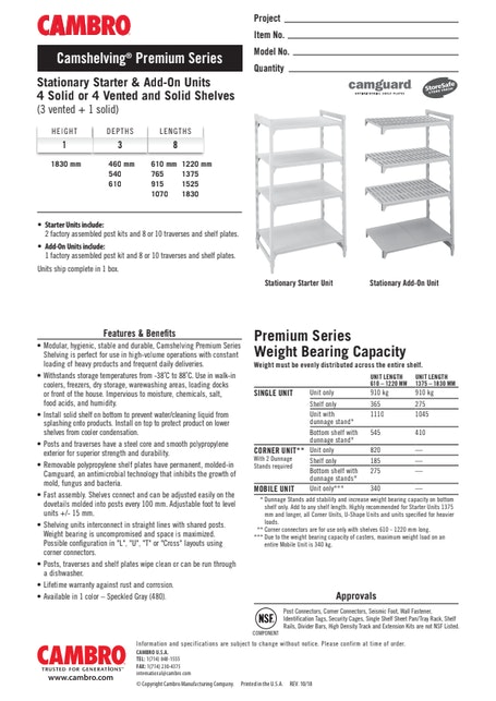 CUT - Metric CPPM4 CS Stationary Starter & Add-On Units 4 Solid or 4 Vented and Solid Shelves