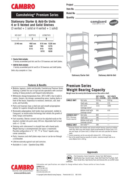CUT - Metric CPPM7 Stationary Starter & Add-On Units 4 or 5 Vented and Solid Shelves