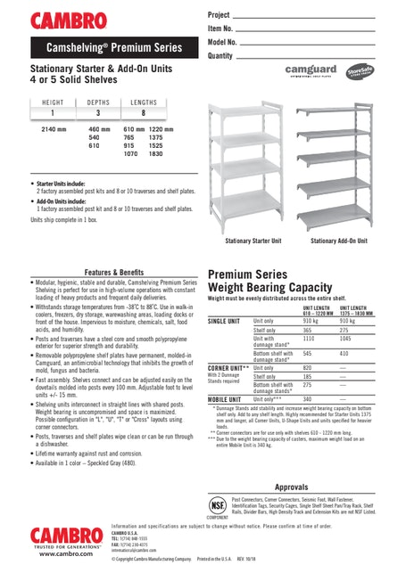 CUT - Metric CPPM6 Stationary Starter & Add-On Units 4 or 5 Solid Shelves