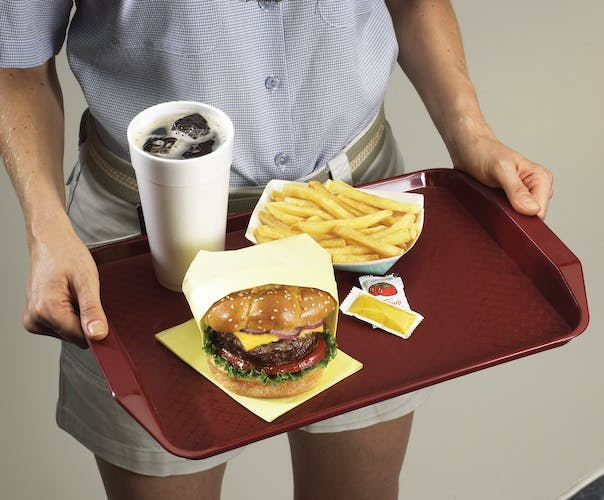 1217FFH416 Cranberry Fast Food Tray w Handles & Burger Meal