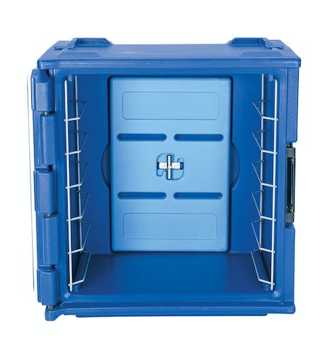 BK60406 Navy Blue 6-Rail Insulated Bakery Container Open Front