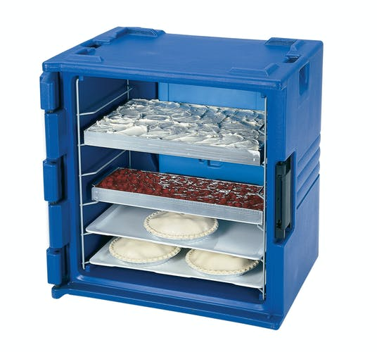BK60406 Navy Blue 6-Rail Insulated Bakery Container w Pastries