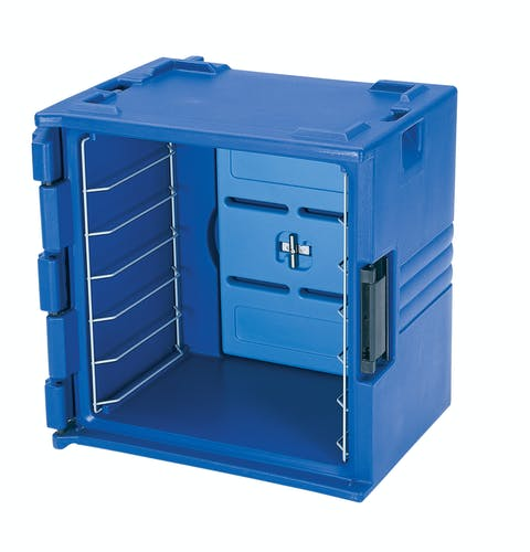 BK60406 Navy Blue 6-Rail Insulated Bakery Container Side Front