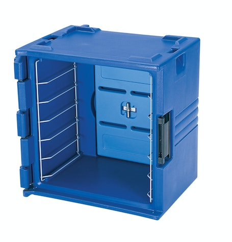 BK60406186 Navy Blue 6-Rail Insulated Bakery Container Side Front
