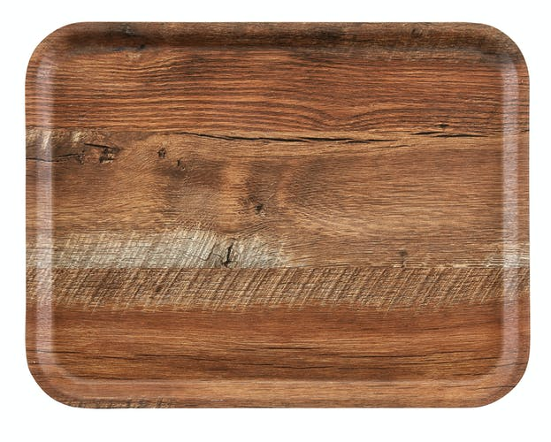 MA2435E87 Madeira Laminated Tray with Textured Surface 24 x 35 cm Brown Oak