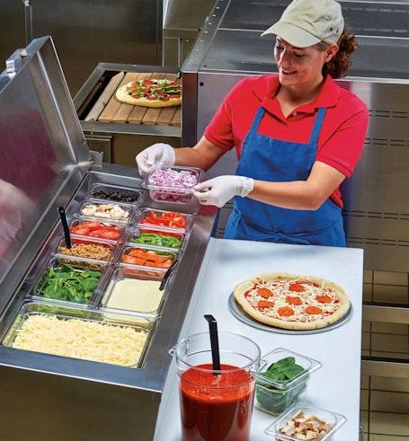62CW135 Camwear Sixth Size Food Pan at Pizza Prep Station
