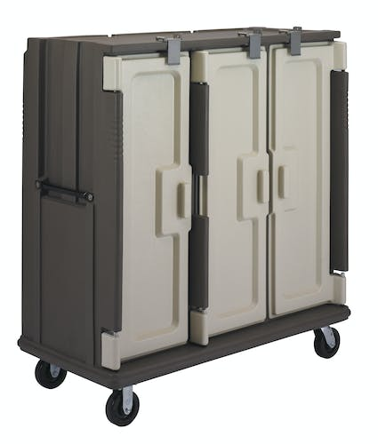 MDC1411T60194 Granite Sand 60-Tray Meal Delivery Cart - Left Facing