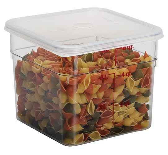 6SFSCW135 6 QT Clear Camwear Container with Dry Pasta