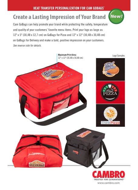 GoBag Heat Transfer Personalization Spec Sheet