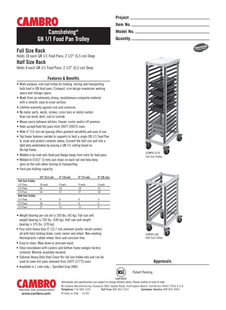 GN 1/1 Food Pan Trolley Cut Sheet
